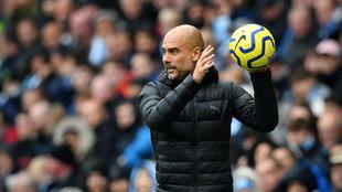 Pep Guardiola, durante un partido con el Manchester City.