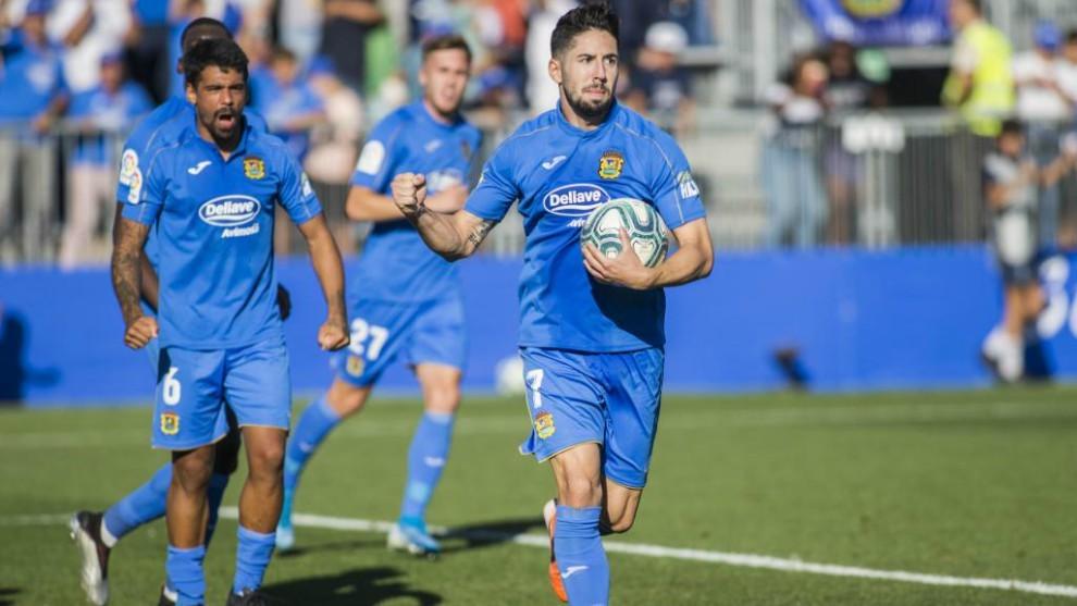 Hugo Fraile celebra uno de los goles marcados esta temporada