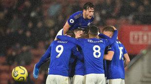Les joueurs de Leicester célèbrent l'un de leurs buts contre Southampton.