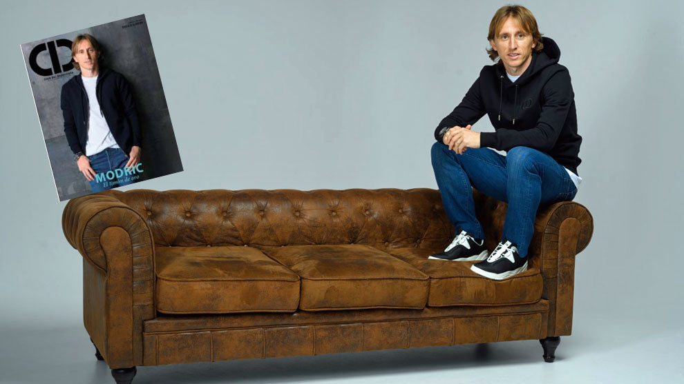 Modric poses for the interview