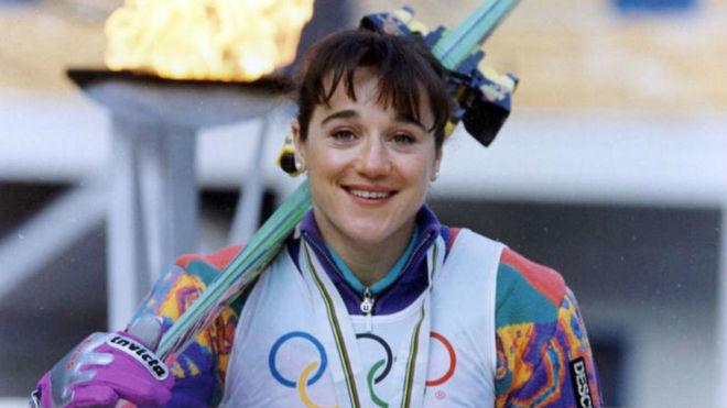 Blanca con su medalla de bronce en Albertville en 1992.