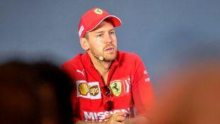 Vettel, en una rueda de prensa.