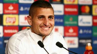 Marco Verratti (26), en rueda de prensa con el PSG.