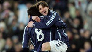 Riquelme y Messi con la selección de Argentina