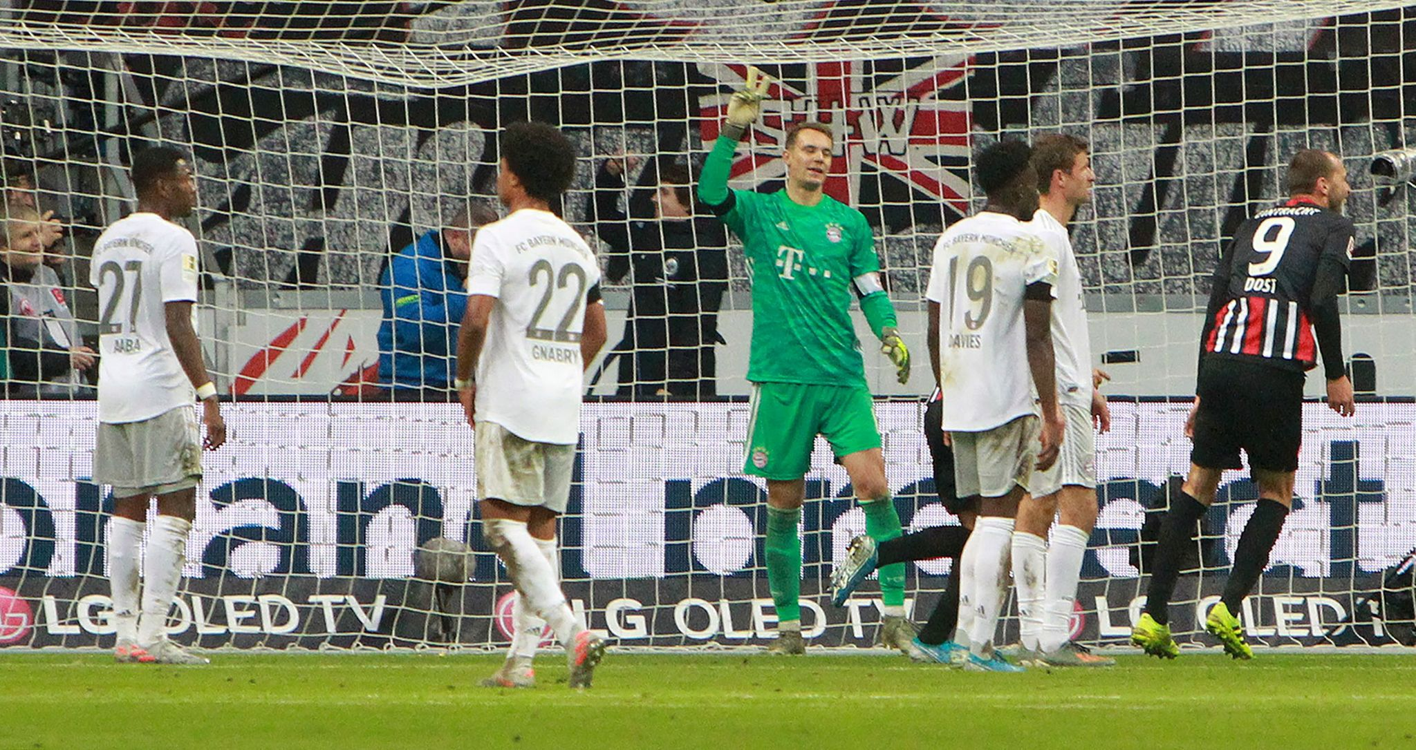 <HIT>Bayern</HIT> Munichs German goalkeeper Manuel Neuer (C) and his teammates react after Frankfurt scored the 4-1 during the German first division Bundesliga football match between Eintracht Frankfurt and FC <HIT>Bayern</HIT> Munich on November 2, 2019 in Frankfurt am Main, western Germany. (Photo by Daniel ROLAND / AFP) / DFL REGULATIONS PROHIBIT ANY USE OF PHOTOGRAPHS AS IMAGE SEQUENCES AND/OR QUASI-VIDEO