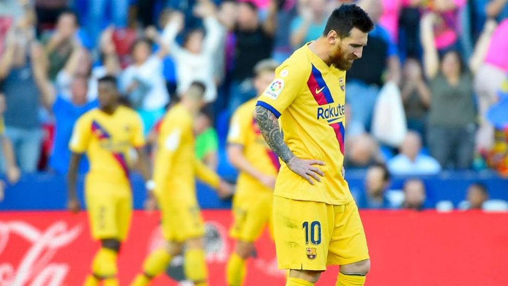 Messi y varios jugadores del Barcelona.