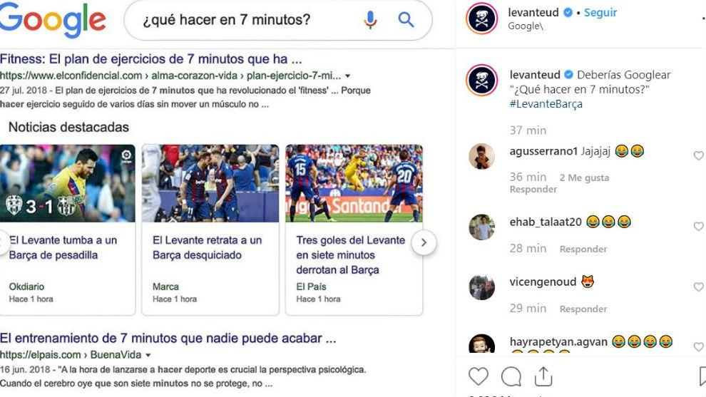 La publicación del Levante en su perfil de Instagram