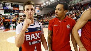 Frankie Ferrari celebra el triunfo sobre el Bilbao Basket.