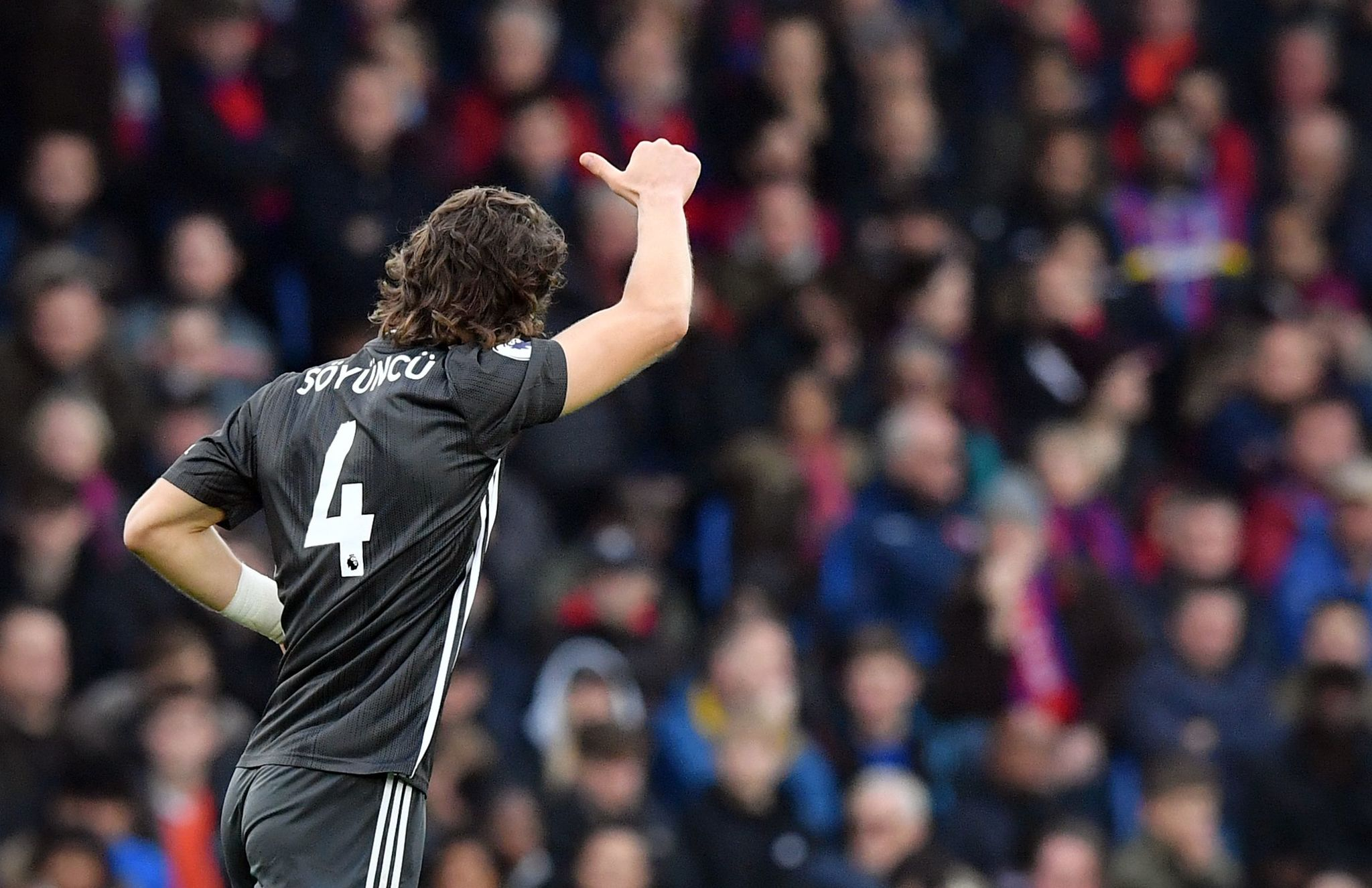 <HIT>Leicester</HIT> Citys Turkish defender Caglar Soyuncu celebrates scoring the opening goal during the English Premier League football match between Crystal Palace and <HIT>Leicester</HIT> City at Selhurst Park in south London on November 3, 2019. (Photo by Ben STANSALL / AFP) / RESTRICTED TO EDITORIAL USE. No use with unauthorized audio, video, data, fixture lists, club/league logos or live services. Online in-match use limited to 120 images. An additional 40 images may be used in extra time. No video emulation. Social media in-match use limited to 120 images. An additional 40 images may be used in extra time. No use in betting publications, games or single club/league/player publications. /