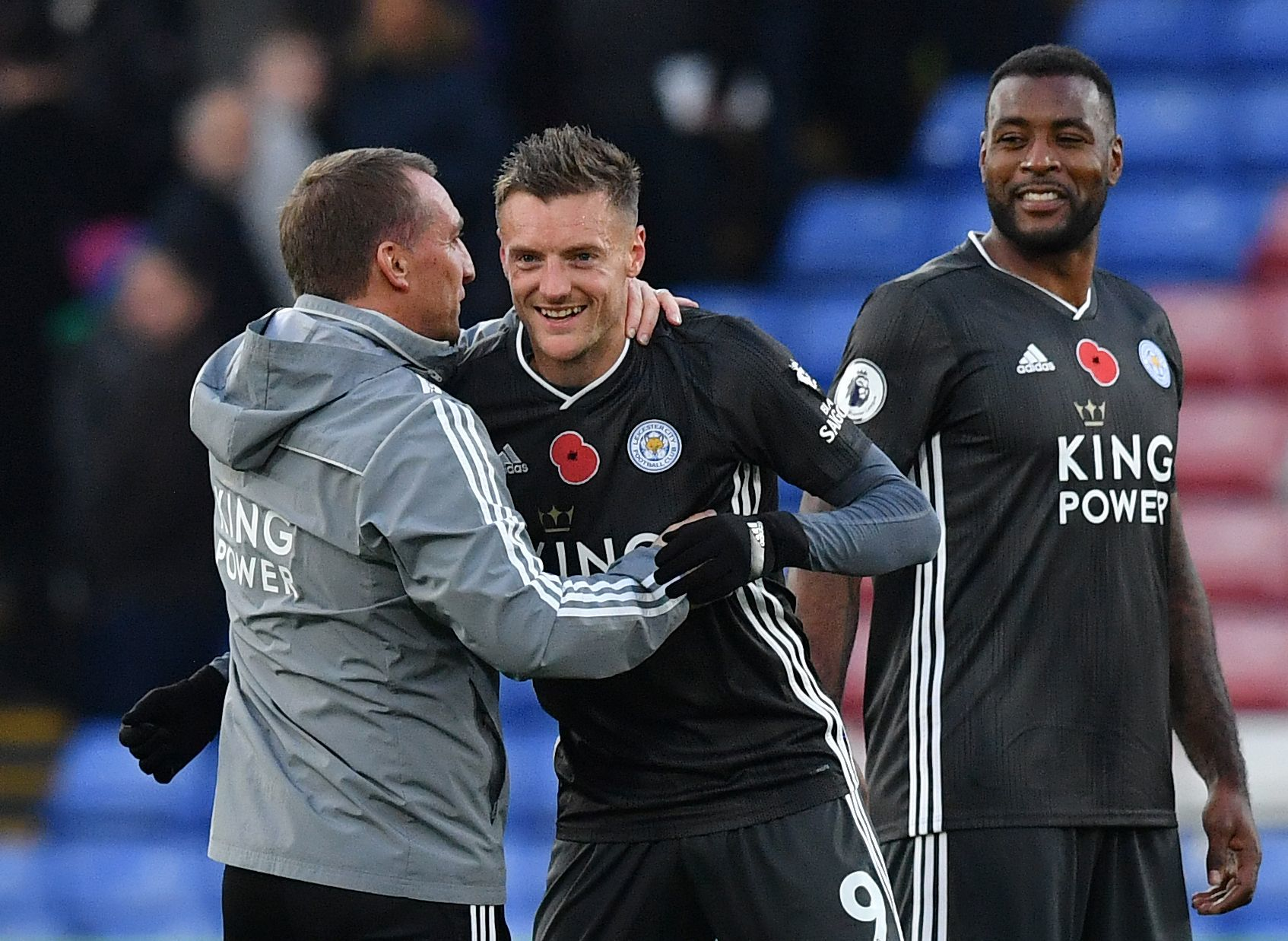 Leicester Citys Northern Irish manager Brendan Rodgers (L) congratulates Leicester Citys English striker Jamie <HIT>Vardy</HIT> (c) during the English Premier League football match between Crystal Palace and Leicester City at Selhurst Park in south London on November 3, 2019. - Leicester won the match 2-0. (Photo by Ben STANSALL / AFP) / RESTRICTED TO EDITORIAL USE. No use with unauthorized audio, video, data, fixture lists, club/league logos or live services. Online in-match use limited to 120 images. An additional 40 images may be used in extra time. No video emulation. Social media in-match use limited to 120 images. An additional 40 images may be used in extra time. No use in betting publications, games or single club/league/player publications. /