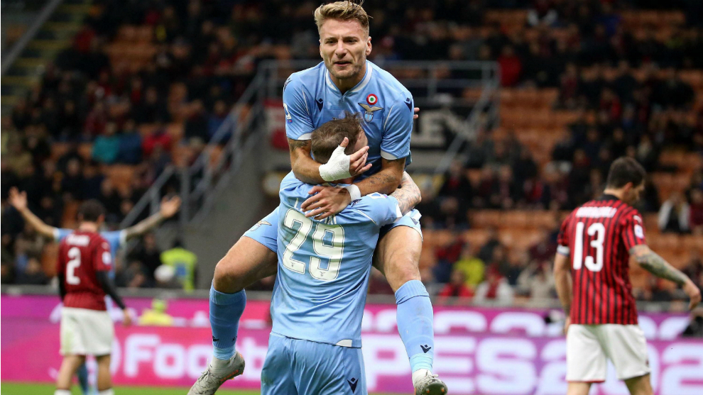 Immobile celebra su gol al Milan
