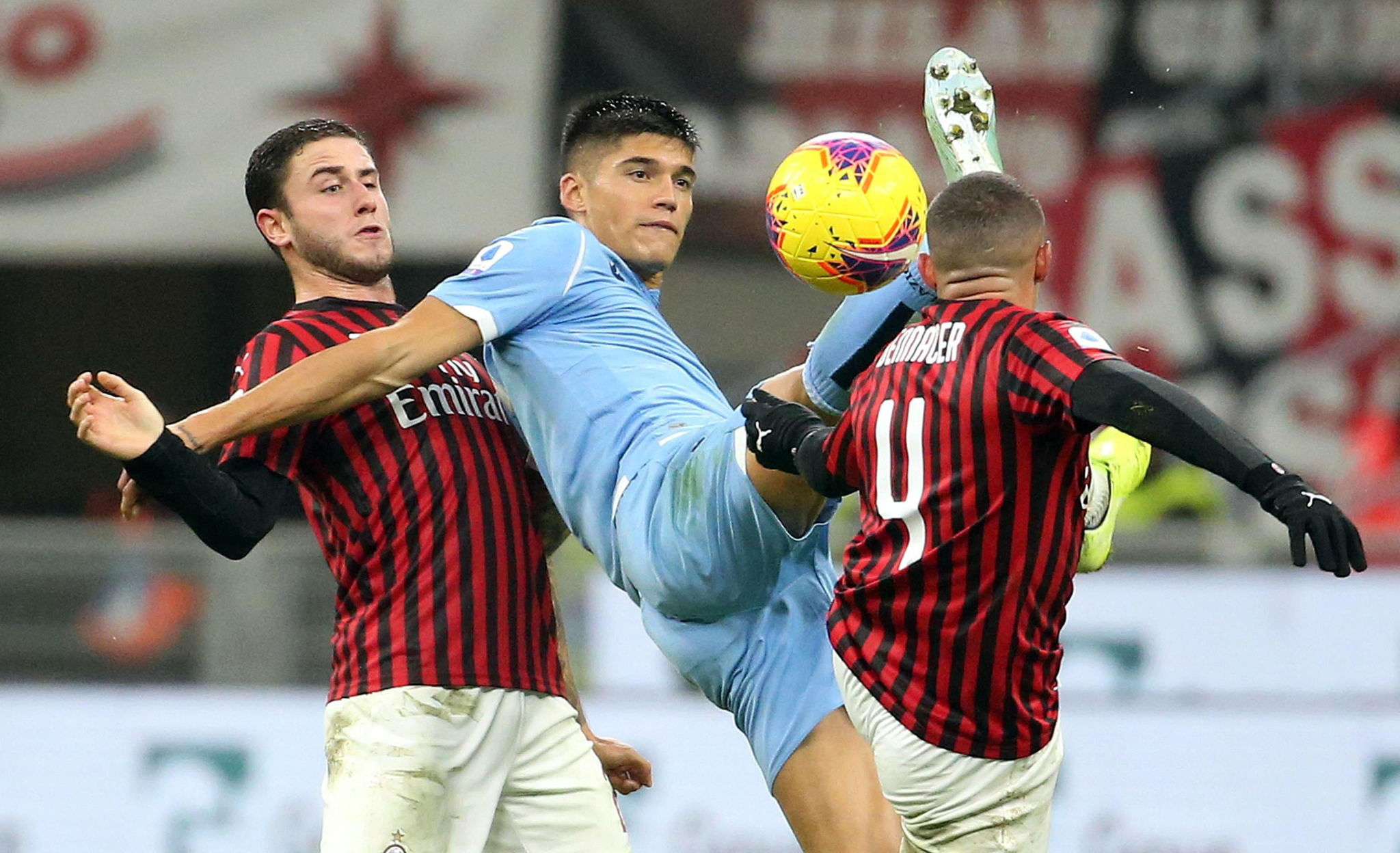 <HIT>Milan</HIT> (Italy), 03/11/2019.- Lazios Joaquin Correa (C) in action against AC <HIT>Milan</HIT>s Davide Calabria (L) and Ismael Bennacer during the Italian serie A soccer match between AC <HIT>Milan</HIT> and SS Lazio at Giuseppe Meazza stadium in <HIT>Milan</HIT>, Italy, 03 November 2019. (Italia) EFE/EPA/MATTEO BAZZI