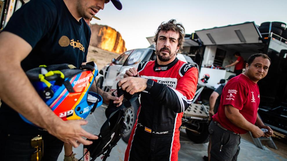 Fernando Alonso, durante el shakedown en Arabia Saudí.