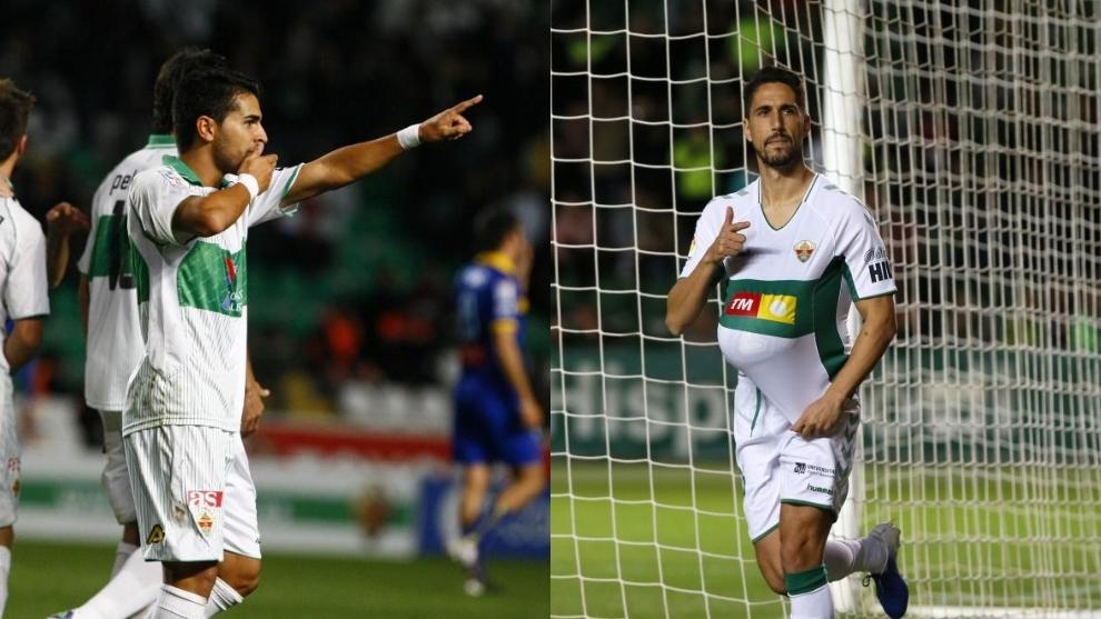 Ángel (en la 2011-12) y Fidel (ayer) celebran uno de sus tres goles.