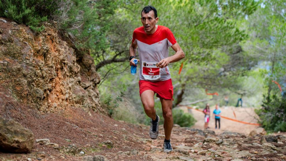 Miguel Heras, durante el recorrido del Ibiza Trail Maratón.