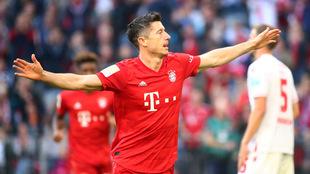 Festeja con gol con el Bayern Munich.