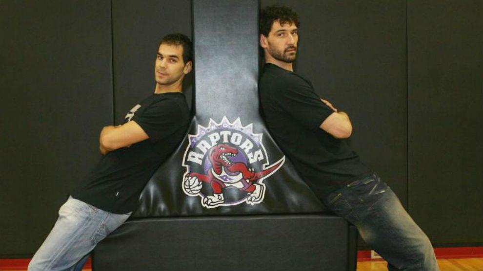 José Manuel Calderón y Jorge Garbajosa, durante su etapa en los...