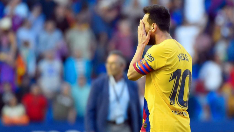 Messi en la derrota ante el Levante.