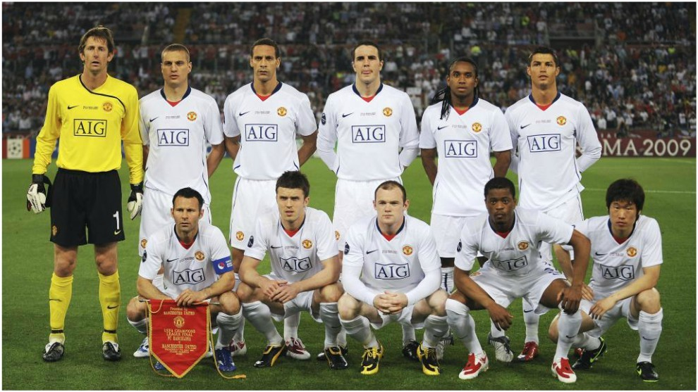 Once del Manchester United en el Olímpico de Roma.
