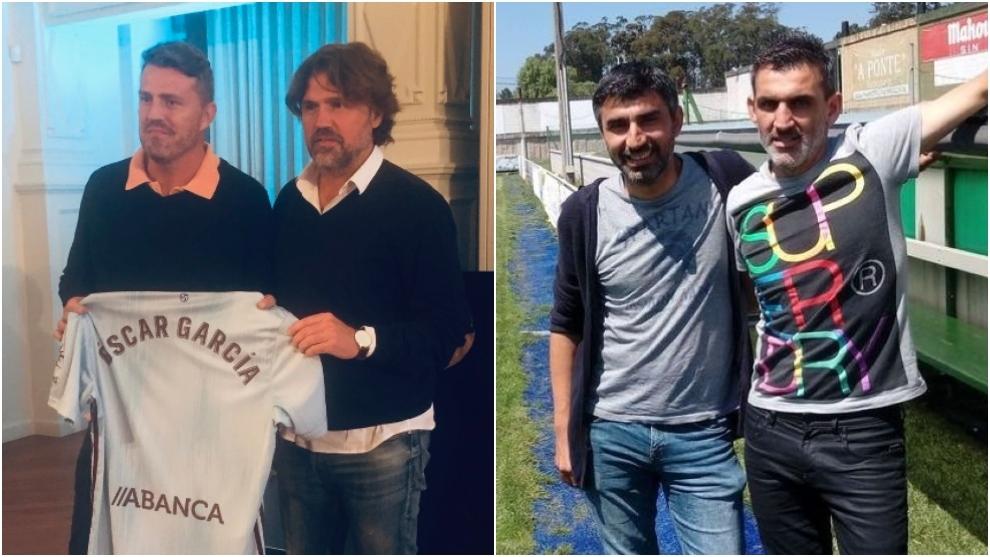 Óscar y Roger García, entrenadores del primer equipo del Celta, y...