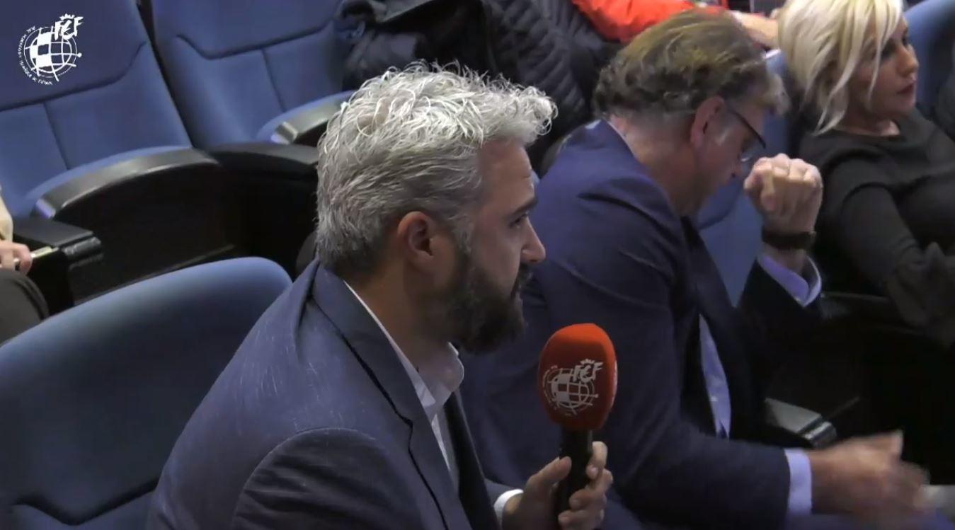 Rubén Alcaine, presidente de la ACFF, en la reunión en la RFEF.