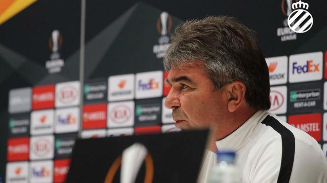 Zhelyazkov, técnico del Ludogorets, en su comparecencia de prensa.