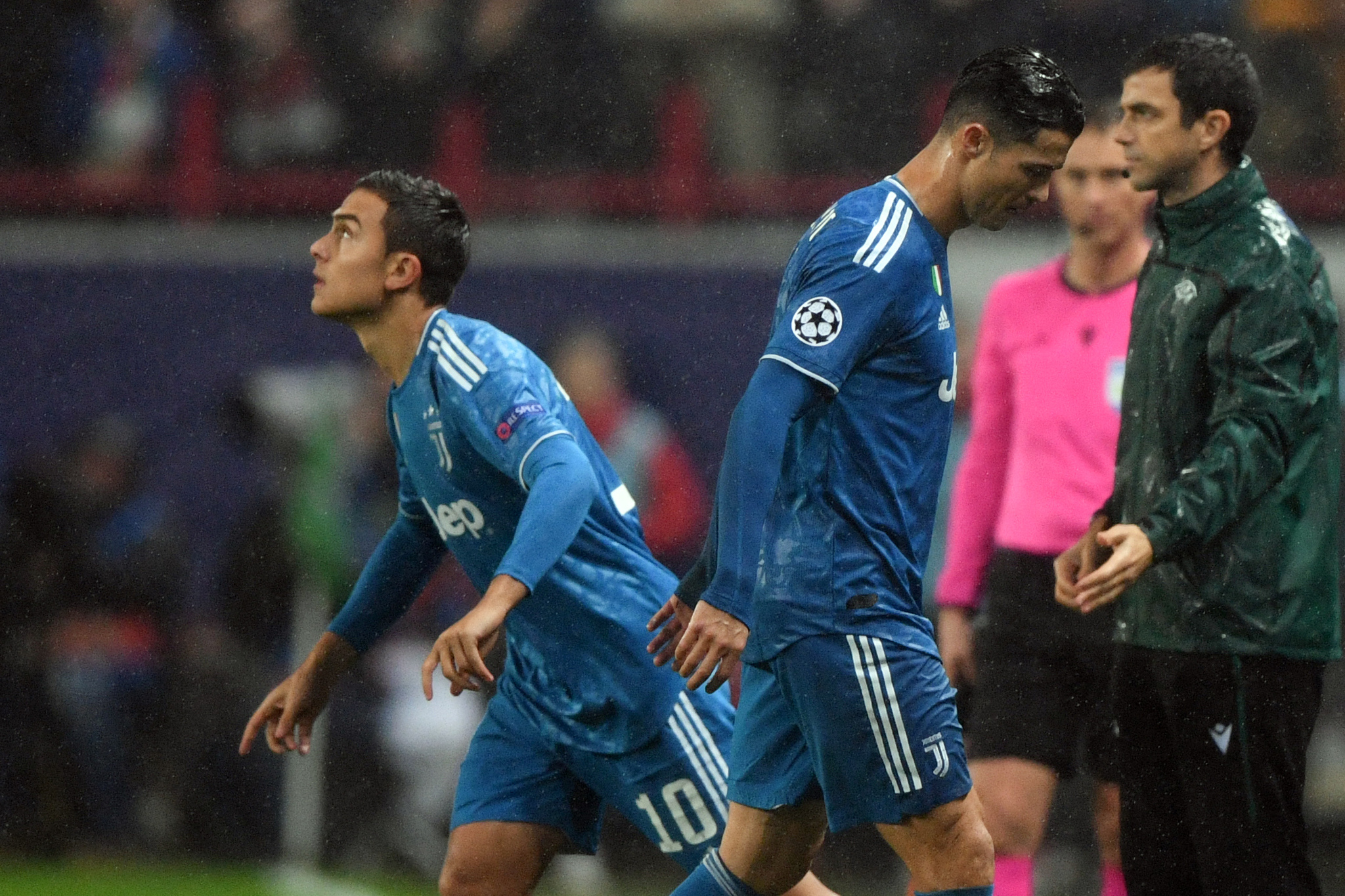 Juventus Portuguese forward <HIT>Cristiano</HIT> Ronaldo is replaced by Juventus Argentine forward Paulo Dybala during the UEFA Champions League group D football match between FC Lokomotiv Moscow and Juventus at Moscows RZD Arena stadium on November 6, 2019. (Photo by Kirill KUDRYAVTSEV / AFP)