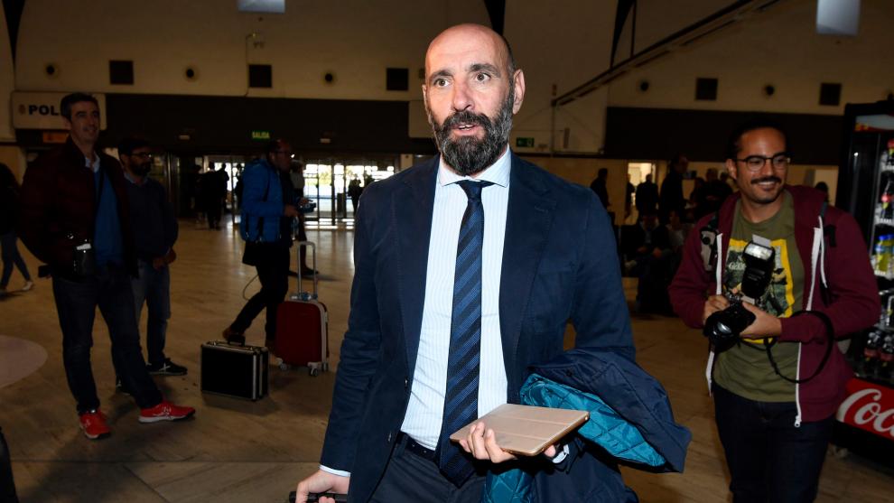 Monchi, este miércoles en el aeropuerto de San Pablo.