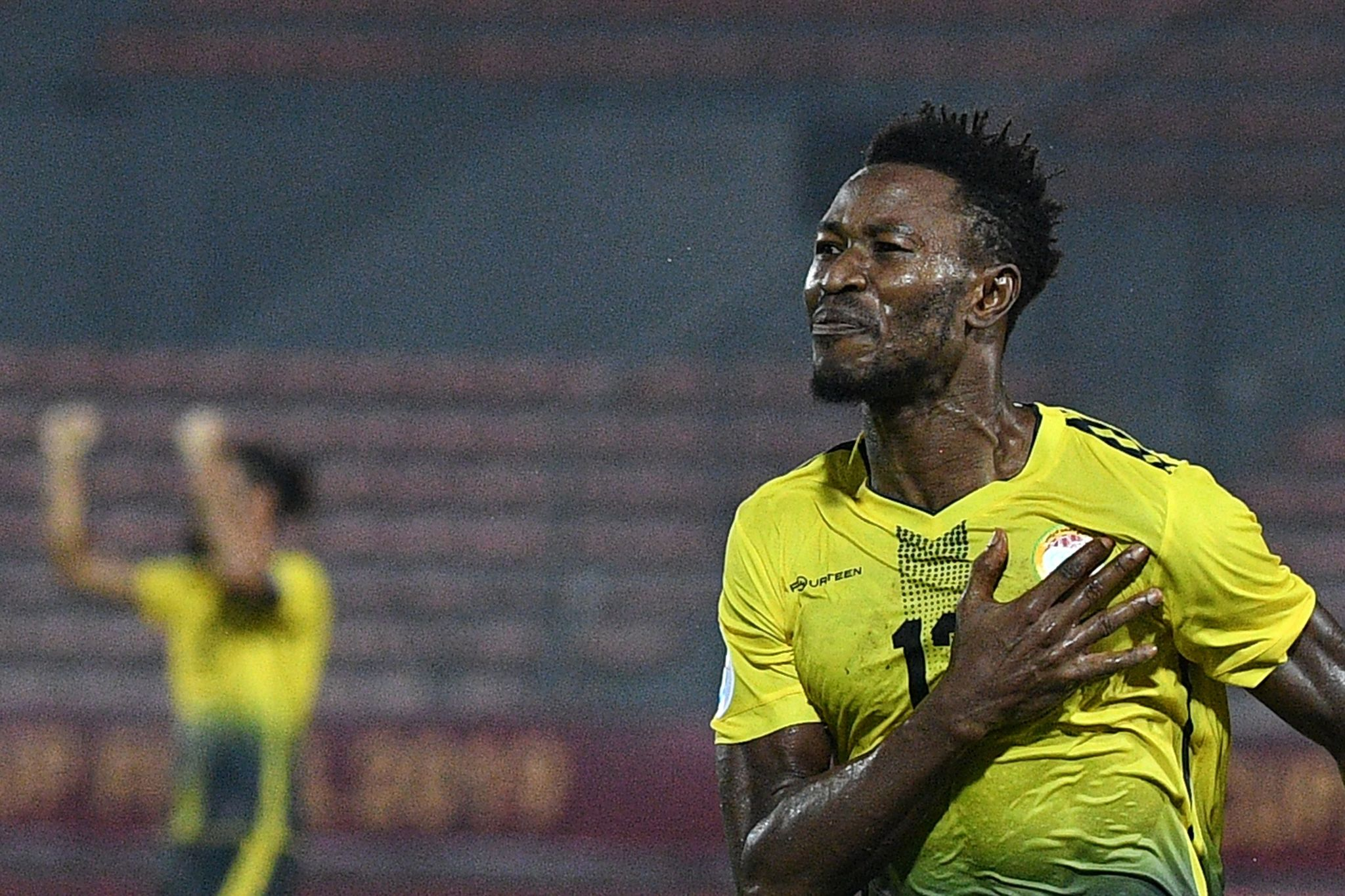 Al <HIT>Ahed</HIT>s midfielder Issah Yakubu celebrates after scoring a goal during the 2019 AFC Cup Final between North Koreas April 25 Sports Club and Lebanons Al <HIT>Ahed</HIT> FC at Kuala Lumpur Stadium in Kuala Lumpur on November 4, 2019. (Photo by Mohd RASFAN / AFP)