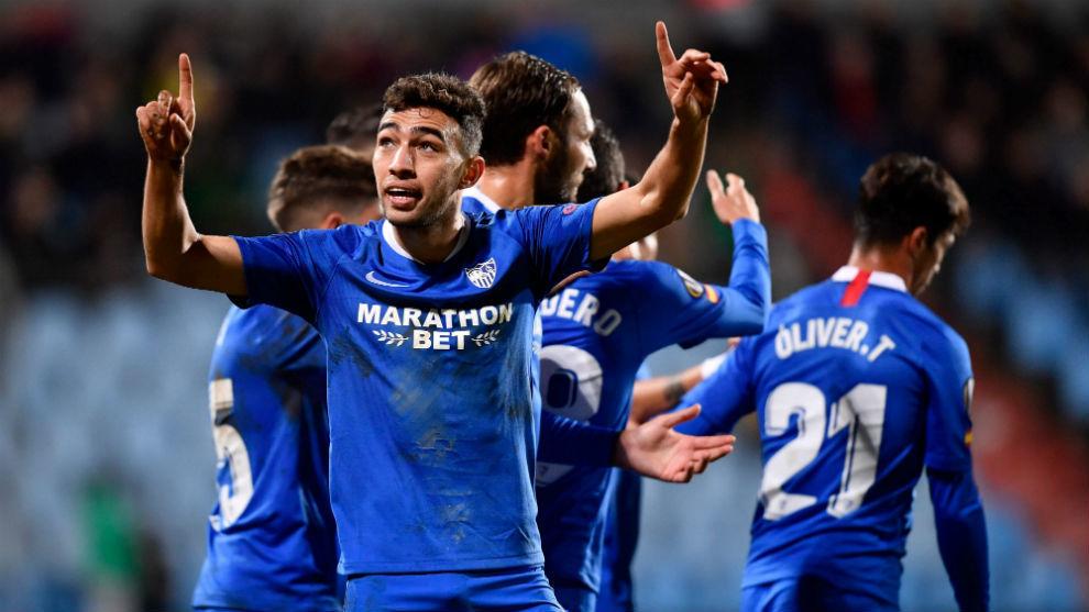 Munir celebrates his hat-trick against Dudelange