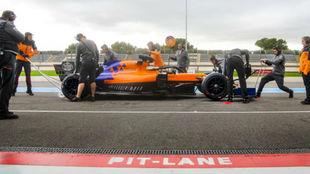 Sainz, durante el test de hoy en Paul Ricard.