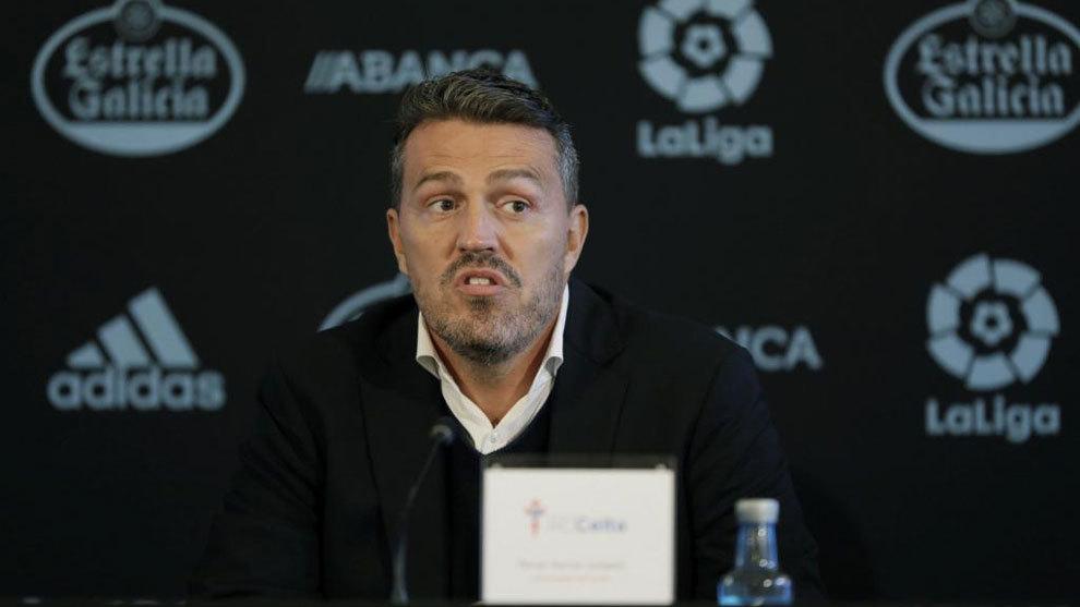 Oscar García, durante su presentación como  nuevo entrenador del...