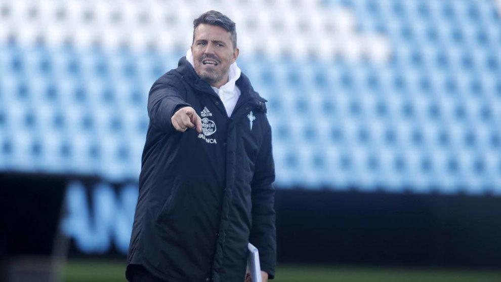 Oscar García, durante el entrenamiento del Celta.