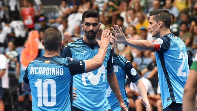Los jugadores del Movistar Inter celebran un gol esta temporada.