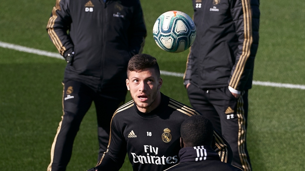Luka Jovic during training on Friday morning.