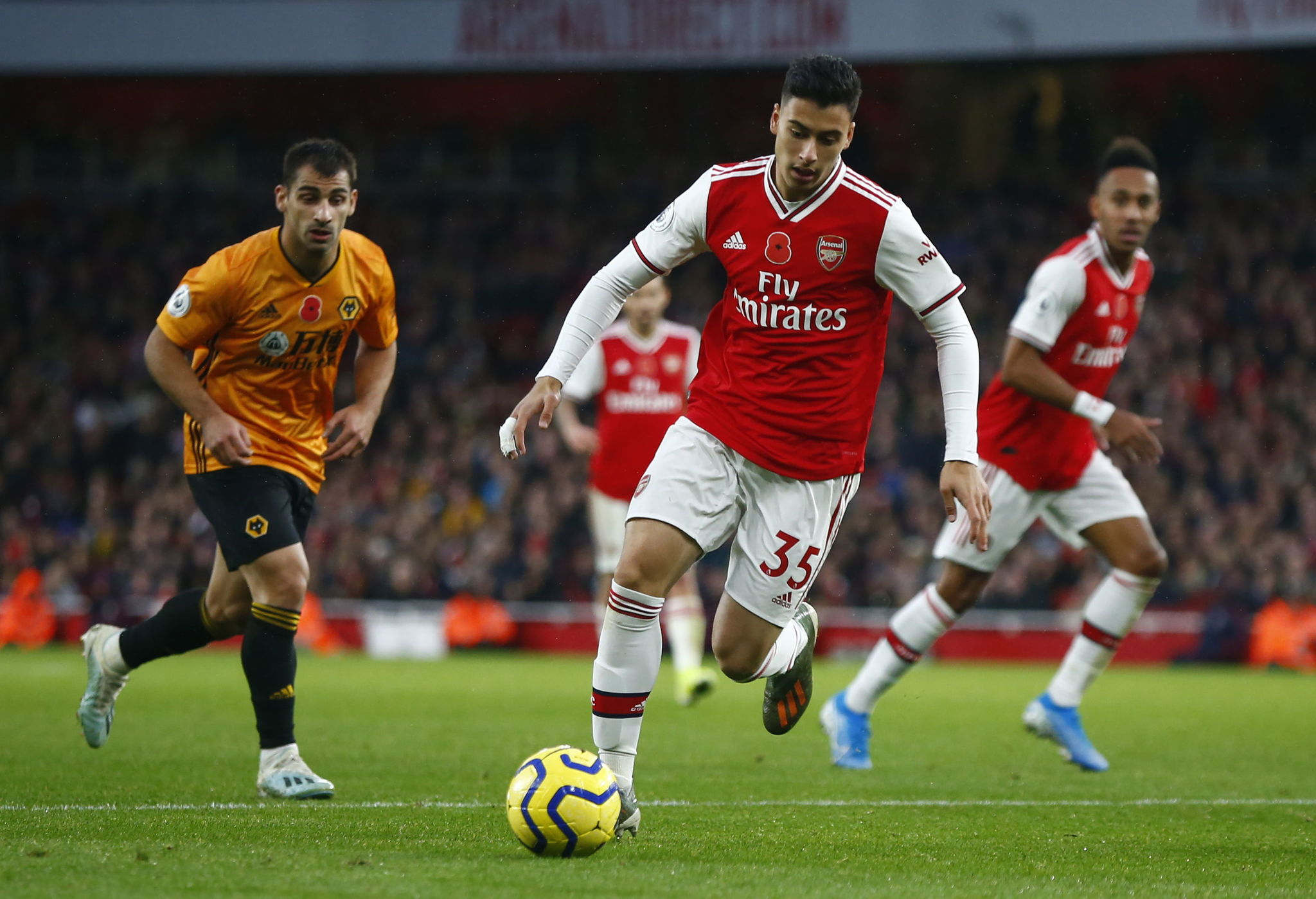 London (United Kingdom), 24/09/2018.- Gabriel <HIT>Martinelli</HIT> of Arsenal during the English Premier League soccer match between Arsenal and Wolverhampton Wanderers at the Emirates stadium in London, Britain, 02 November 2019. (Reino Unido, Londres) EFE/EPA/KIERAN GALVIN EDITORIAL USE ONLY. No use with unauthorized audio, video, data, fixture lists, club/league logos or live services. Online in-match use limited to 120 images, no video emulation. No use in betting, games or single club/league/player publications