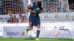 Bruno Valdez celebrando un gol contra el Veracruz.