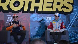 Los dos campeones, durante la rueda de prensa