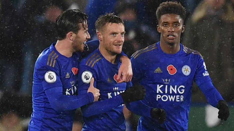 Los jugadores del Leicester celebran un gol al Arsenal