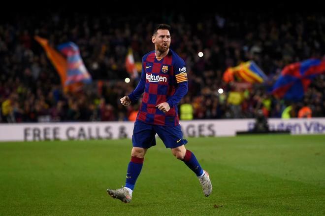 Messi celebra uno de sus goles.