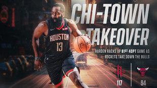 Montaje de los Rockets con James Harden tras ganar en Chicago