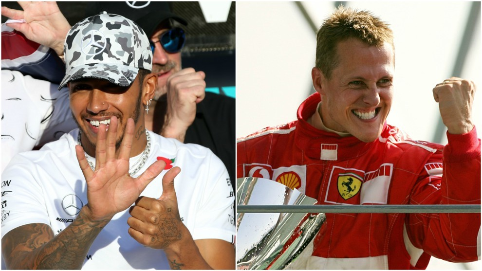 Lewis Hamilton y Michael Schumacher.