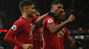 Festejo de los jugadores del Manchester.