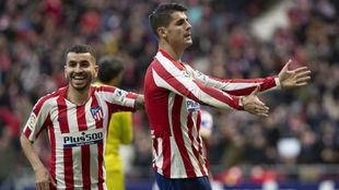 Morata celebra su gol.