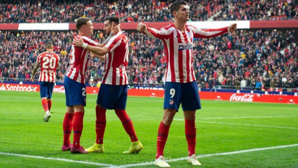 Morata celebra un gol en uno de los fondos del Wanda Metropolitano