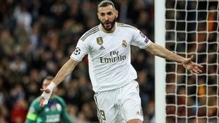 Benzema celebra uno de los 11 goles que lleva esta temporada.