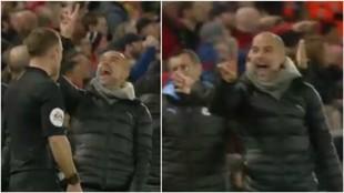 Guardiola reclama los dos penaltis por mano de Alexander-Arnold.