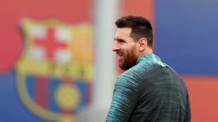 Messi durante un entrenamiento del Barcelona.