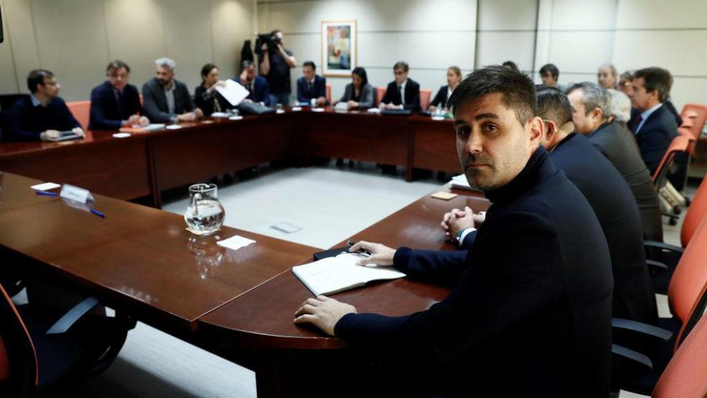 David Aganzo, presidente de AFE, en una reunión en el Ministerio.