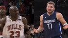 Jordan y Doncic hacen el gesto de encogerse de hombros